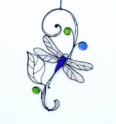 Stained Glass Suncatcher Dragonfly Tiffany Glass Home decor #StainedGlassJewelry