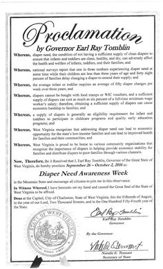 WEST VIRGINIA - Governor Earl Ray Tomblin's proclamation recognizing Diaper Need Awareness Week (Sep. 26 - Oct. 2, 2016) #DiaperNeed diaperneed.org