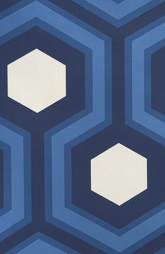 Hicks' Grand Hexagon Wallpaper Large Geometric design wallpaper in blue and white.