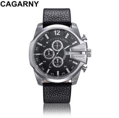 73ef3323 Luxury Brand Cagarny Mens Quartz Watches Men Military Wristwatch Leather  Watchband Watch Date Clock Man Relojes