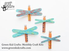 Cutest little dragonflies! Like this craft idea? You can order a 3, 6, or 12 month Green Kid Crafts craft kit subscription and get 3 cool, earth-friendly craft kits like this mailed to your little one every month! www.greenkidcrafts.com