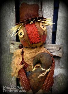 Primitive Folk Art Scarecrow Joe & His Crow-Autumn, Fall-Halloween-Handcrafted, Hafair Team, Faap by MeadowForkPrims on Etsy
