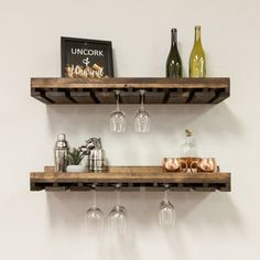 Gracie Oaks Mulane Solid Wood Wall Mounted Wine Glass Rack in Dark Walnut Hanging Wine Rack, Wine Rack Wall, Wood Wine Racks, Wine Glass Holder, Industrial Wine Racks, Wine Shelves, Wine Storage, Modern Holiday Decor, Compact Kitchen