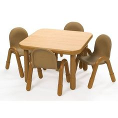 Angeles Preschool Table & Chair Set NATURAL