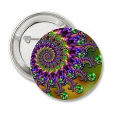 #Button #Badge with a funky #green and #purple #fractal #art pattern