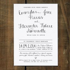 calligraphy wedding invitation stationery by feel good wedding invitations | notonthehighstreet.com