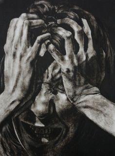 Clara Lieu, Self-Portrait No. etching ink and lithographic crayon on Dura-Lar, x 2011 Self Portrait Drawing, Portrait Art, Advanced Higher Art, Look Wallpaper, Depression Art, Art Tumblr, Arte Obscura, Ange Demon, A Level Art
