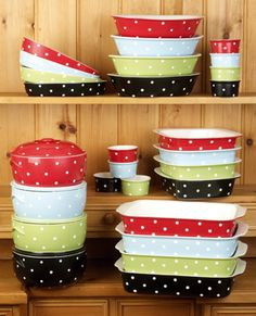 Colorful bakeware by Spode...Love polka dots
