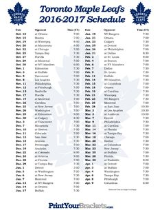 Printable Toronto Maple Leafs Hockey Schedule 2016 - 2017