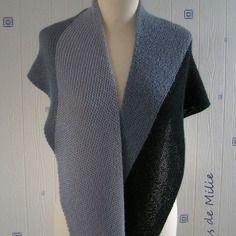 Châle rayé gris clair/gris/noir, tricoté main, alpaga/soie