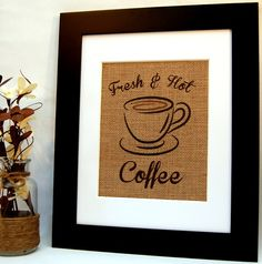 Fresh and Hot Coffee Sign Coffee Decor Kitchen by BusyBeeBurlap