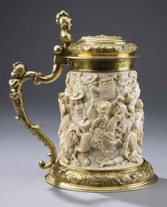 Johann Michel Hornung, sculptor, Germany, 1646 - 1706; Adam Elias, silversmith. Germany, 1669-1745. Tankard: Battle Scene from Franco-Dutch War.