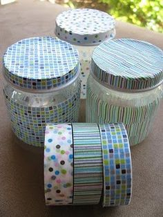 baby food jars covered with washi tape