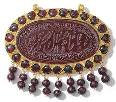 fa932ab2813 A LARGE GOLD-MOUNTED CARNELIAN INTAGLIO QAJAR IRAN