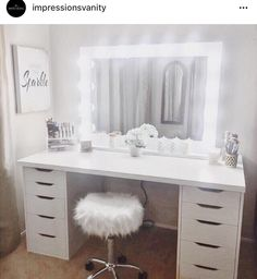 Superb Perfect dressing table with room for all your make up! The post Perfect dressing table with room for all your make up!… appeared first on Ameria . Bathroom With Makeup Vanity, Makeup Table Vanity, Vanity Room, Vanity Ideas, Makeup Tables, Makeup Vanities, Vanity Set, Vanity Tables, Vanity Mirrors