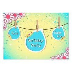 Bright Daisy Clothesline Birthday Party Invitation