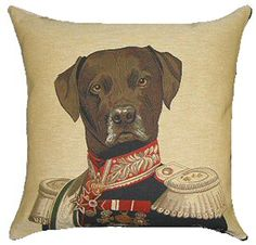 Chocolate Labrador Belgian Tapestry Cushion with exclusive designs by Thierry Poncelet, Brussels born artist.