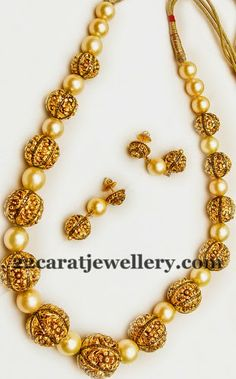 Filigree Work South Pearls Set Latest Collection of best Indian Jewellery Designs. India Jewelry, Bead Jewellery, Temple Jewellery, Pearl Jewelry, Wedding Jewelry, Antique Jewelry, Beaded Jewelry, Jewelery, Gold Jewelry