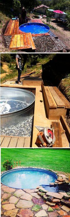 Galvanized Stock Tank Turned DIY Pool