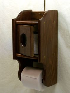 Wooden Toilet Paper Holder with Tissue shelf by BearcatWoodworks, $75.00