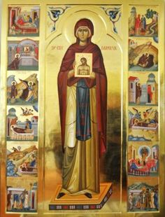 Hagiographical icon of St Parascheva. An icon hagiography consists of a central icon - a great saint, surrounded by a frame of small scenes depicting events or miracles in the life of the saint. Religious Images, Religious Icons, Religious Art, Byzantine Icons, Byzantine Art, Greek Icons, Church Icon, Lives Of The Saints, Art Icon