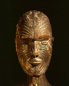 Maori wooden head- Brighton Museum, UK New Zealand