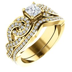 10kt Yellow Gold 4mm Center Square Diamond and 70 Accent Round Diamonds Bridal Ring Set...(ST122113:366:P).! Price: $1029.99 #diamonds #yellowgold #bridalringset #gold