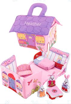 Bunny House soft play set by Pockets of Learning made from soft fabric and opens to reveal a Bunny Family with play furniture. Bunny House closes and has padded handles for travel. Baby Bunnies, Bunny, Soft Play, Purple Fabric, Creative Play, Cozy Cottage, Toys For Girls, Soft Fabrics, Your Child