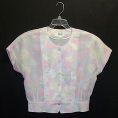 Vtg 50s Pastel Floral Semi Sheer Netting Cropped Top Detailed Glass Buttons L/XL #Sodu