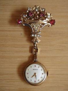 Benrus Lapel Watch w/ Goldtone Basket of Flowers