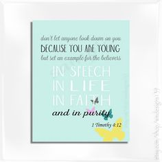 1 Timothy 4:12 Wall Art for your daughters.  Be an example to live in purity, faith and Grace.
