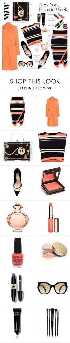 """orange tab"" by nataskaz ❤ liked on Polyvore featuring Ted Baker, Bottega Veneta, Charlotte Olympia, Miu Miu, Jouer, Paco Rabanne, Clarins, OPI, Jane Iredale and Max Factor"