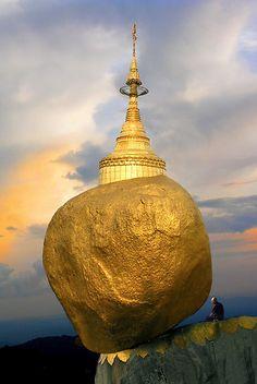 Balancing rock, Pagoda, Burma. Amazing architecture