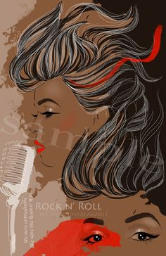 Janelle Mona - the inspiring singer and fashion icon. This beautiful illustration is a representation of art, music and love. Red, blacks brown colors create fabulous combination. Fashion illustration/ Portrait Microphone. by JulijaLubgane, $18.00