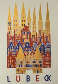 Luebeck - original 1960s poster by Alfred Maklan listed on AntikBar.co.uk