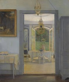 a beautiful painted blue room of grandeur and chandeliers - Interior with Afternoon Sun, 1905, Georg Nicolai Achen