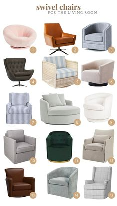 Small Living Room Chairs, Formal Living Rooms, Living Room Modern, Home Living Room, Living Room Designs, Living Room Decor, Swivel Recliner Chairs, Modern Swivel Chair, Small Swivel Chair