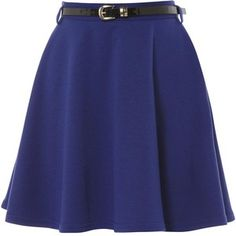 Blue Ponti Mini Skater Skirt
