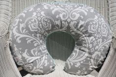 Gray Damask and White Minky Boppy Cover by DesignsbyChristyS, $25.00
