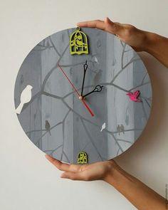 Часы для дома ручной работы. Ярмарка Мастеров - ручная работа. Купить Часы ручной работы на деревянной основе, ручная роспись, птички. Handmade.
