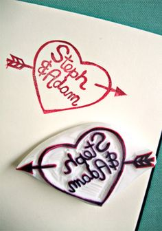 CUSTOM MADE - made to order - hand carved - rubber stamp for back of the invite envelopes - love heart - with your names