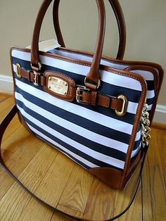 Michael Kors Hamilton Navy Blue & White Striped Leather Trim EW Tote Handbag