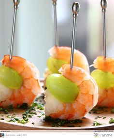Appetizer that I will do this Saturday night. Grill the shrimp on a salt block and then add grape on skewer. Can't wait.
