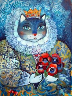 Reine - Peinture,  48x36 cm ©2013 par Oxana Zaika -                            Peinture contemporaine, chat