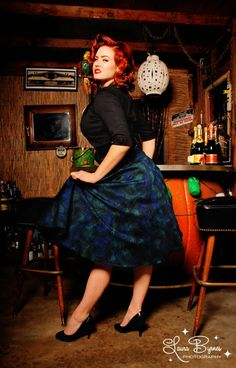 The Doris Skirt in Peacock Print by Pinup Couture Rockabilly Mode, Rockabilly Fashion, Peacock Skirt, Gia Genevieve, Pinup Couture, Chubby Girl, Dress Cuts, Model Photographers, Pin Up Girls