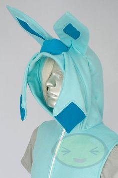 Glaceon  Vest, Costume, Hoodie, Vest, Jacket, Hand-made, Pokemon. $136.99, via Etsy.