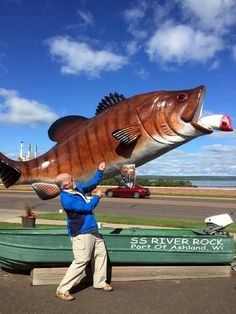A Road Trip Across the U. Based on Lewis and Clark! Pictured: Funny fly fishing sculpture in Ashland, Wisconsin. Madeline Island Wisconsin, Grand Teton National Park, National Parks, Ashland Wisconsin, Lewis And Clark Trail, Road Trip Map, Road Trips, Fly Fishing, Fishing Knots