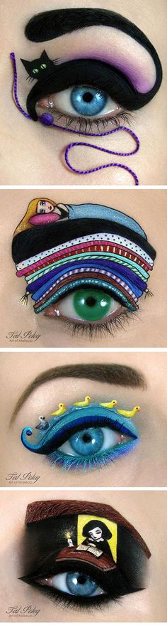 Amazing Eye Makeup Pieces of art!!!!! If I would ever get a face tattoo, this would be it!