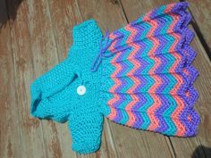 Crochet Hooded Chevron Dress For a Girl by CrazyLeggies on Etsy, $60.00  Will be perfect for #christmas with red, green and white!