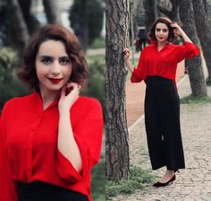 Get this look: http://lb.nu/look/8990228  More looks by Blue Bird: http://lb.nu/ocean  Items in this look:  Zara Culotttes, Red Shirt   #chic #classic #elegant #widelegpanths #redshirt
